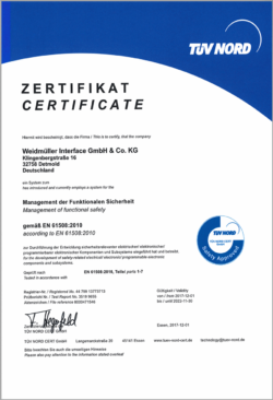 Weidmüller receives the Functional Safety Management Certificate