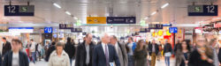 Photo: People at the main train station in Düsseldorf